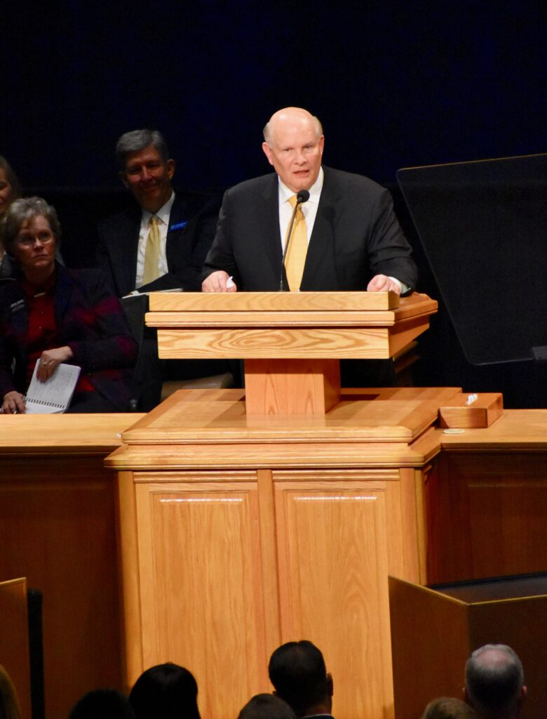 Elder Dale G. Renlund speaks during a Jan. 14, 2020, devotional at the Provo Missionary Training Center in Provo, Utah.