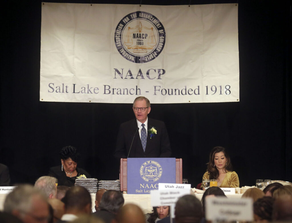 Elder Gary E. Stevenson, of the Quorum of the Twelve Apostles of The Church of Jesus Christ of Latter-day Saints, gives his keynote speech during the 36th annual Dr. Martin Luther King Jr. Memorial Luncheon, hosted by the NAACP Salt Lake Branch, at the Little America Hotel in Salt Lake City on Monday, Jan. 20, 2020.