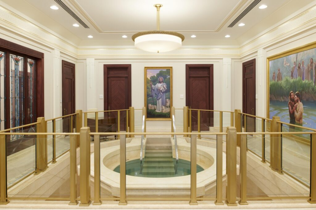 The baptistry in the Durban South Africa Temple.