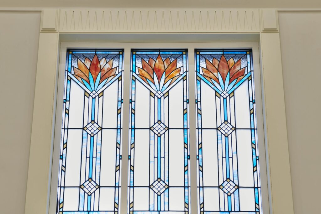 Stained glass windows in the Durban South Africa Temple.