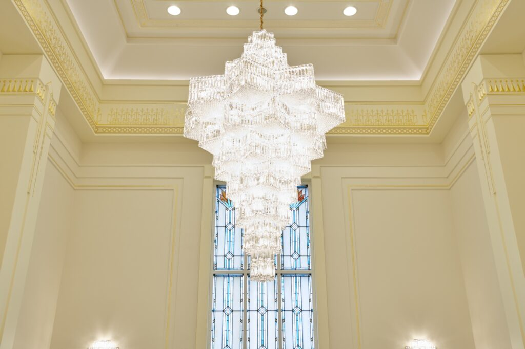 A chandelier in the celestial room in the Durban South Africa Temple.
