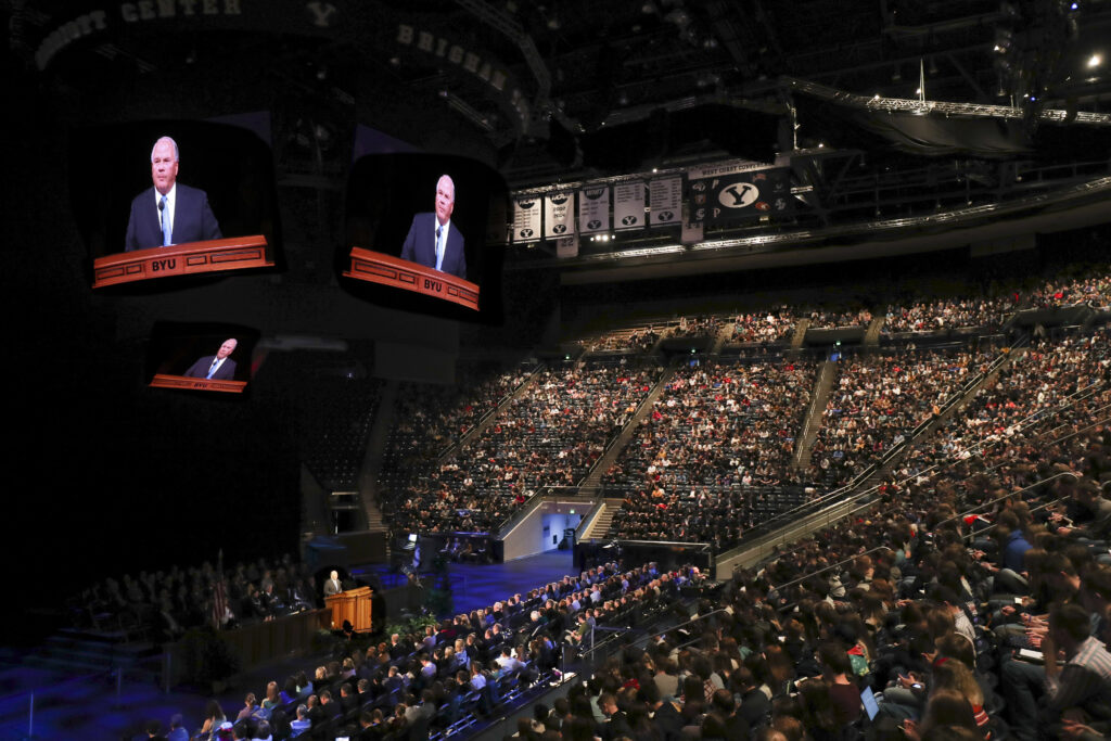 Elder Ronald A. Rasband, of The Church of Jesus Christ of Latter-day Saints' Quorum of the Twelve Apostles, speaks during a Brigham Young University devotional at the Marriott Center in Provo on Tuesday, Jan. 21, 2020.