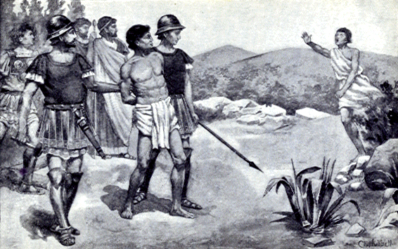 Pythias races to save his friend Damon, who stood in his friend's place while Pythias went home to arrange care for his family before Pythias' execution.