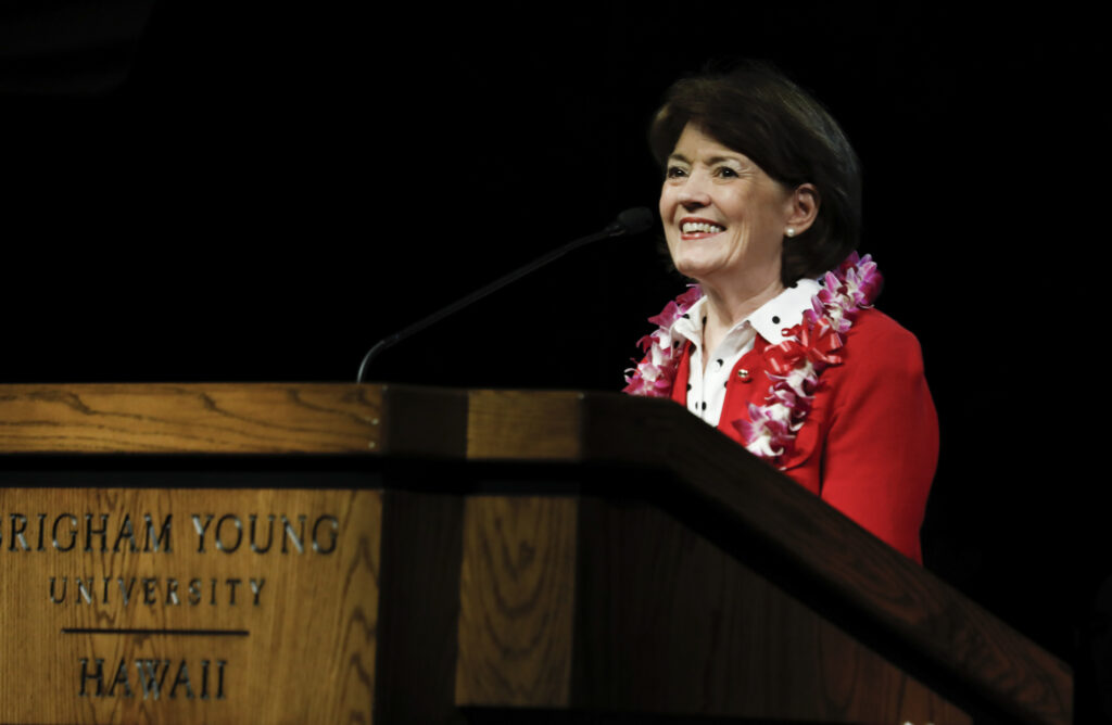 Sister Susan W. Tanner speaks at a devotional held at BYU–Hawaii on Jan. 21, 2020.
