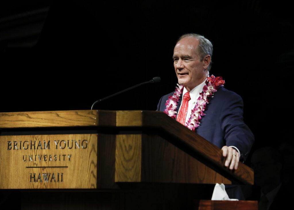 BYU–Hawaii President John S. Tanner speaks at a devotional held on campus Jan. 21, 2020.