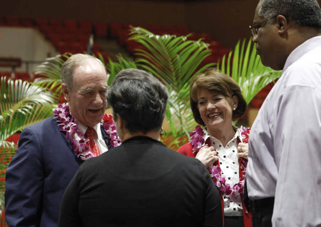 BYU–Hawaii President John S. Tanner and his wife, Sister Susan W. Tanner, speak to attendees at a devotional on campus Jan. 21, 2020.
