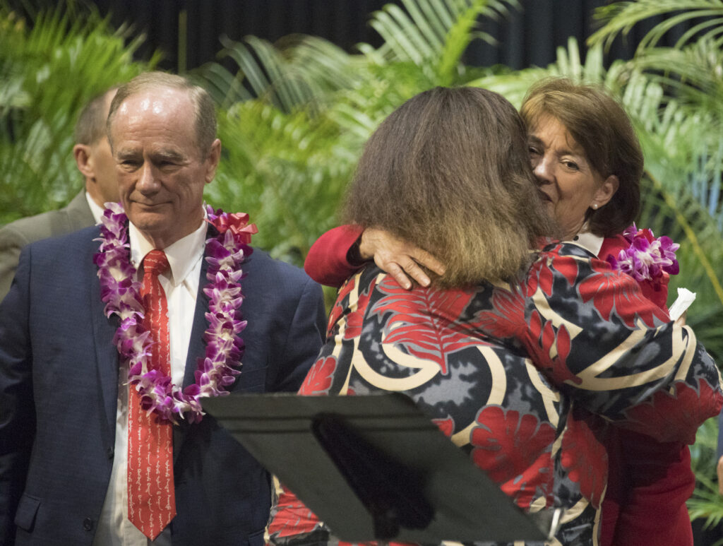 BYU–Hawaii President John S. Tanner and his wife, Sister Susan W. Tanner, interact with attendees at a devotional held on campus Jan. 21, 2020.