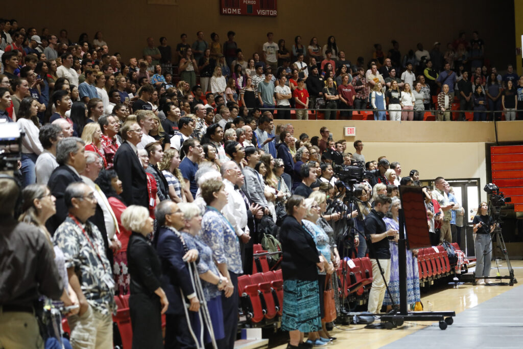 """Attendees sing """"Aloha 'Oe"""" to BYU–Hawaii President John S. Tanner and his wife, Sister Susan W. Tanner, at a devotional held on campus Jan. 21, 2020."""