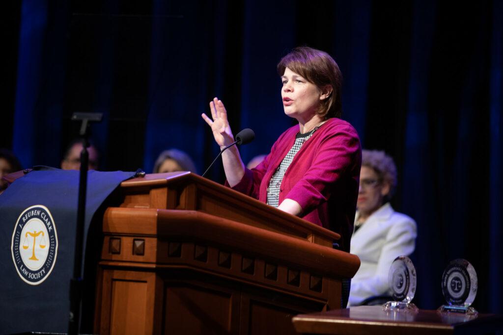 Sister Sharon Eubank speaks during the J. Reuben Clark Law Society Annual Fireside at the Conference Center in Salt Lake City, Utah, on Friday, Jan. 24, 2020.