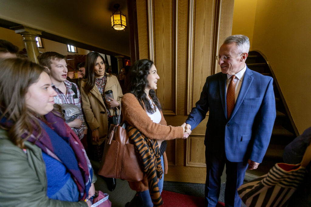 Camila Bonilla shakes hands with Elder Ulisses Soares of the Quorum of the Twelve Apostles of The Church of Jesus Christ of Latter-day Saints, after he spoke to LDS Business College students at a devotional in the Assembly Hall on Temple Square in Salt Lake City on Tuesday, Jan. 28, 2020. Elder Soares stayed and shook hands with all that wanted to stay.