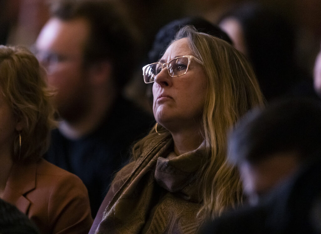 An audience member listens as Elder Ulisses Soares of the Quorum of the Twelve Apostles of The Church of Jesus Christ of Latter-day Saints, speaks to LDS Business College students during a devotional in the Assembly Hall on Temple Square in Salt Lake City on Tuesday, Jan. 28, 2020.