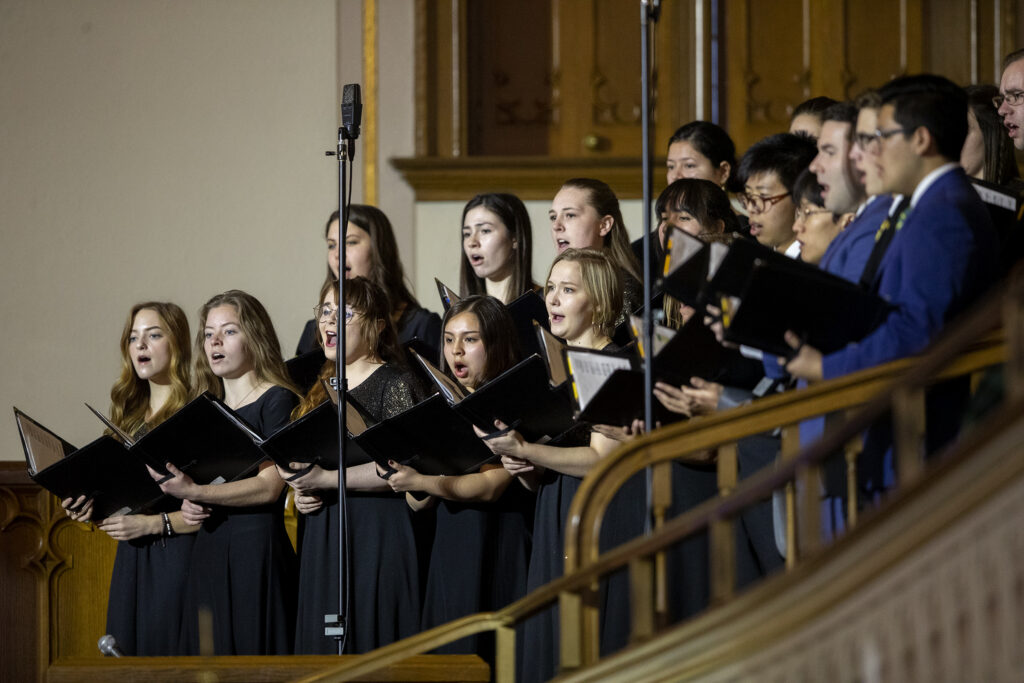 Choir members sing prior to Elder Ulisses Soares of the Quorum of the Twelve Apostles of The Church of Jesus Christ of Latter-day Saints, speaking to LDS Business College students at a devotional in the Assembly Hall on Temple Square in Salt Lake City on Tuesday, Jan. 28, 2020.