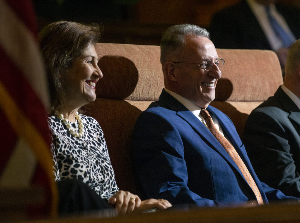 Elder Ulisses Soares of the Quorum of the Twelve Apostles of The Church of Jesus Christ of Latter-day Saints, is joined on the stand by his wife Rosana Soares as he prepares to speak to LDS Business College students at a devotional in the Assembly Hall on Temple Square in Salt Lake City on Tuesday, Jan. 28, 2020.
