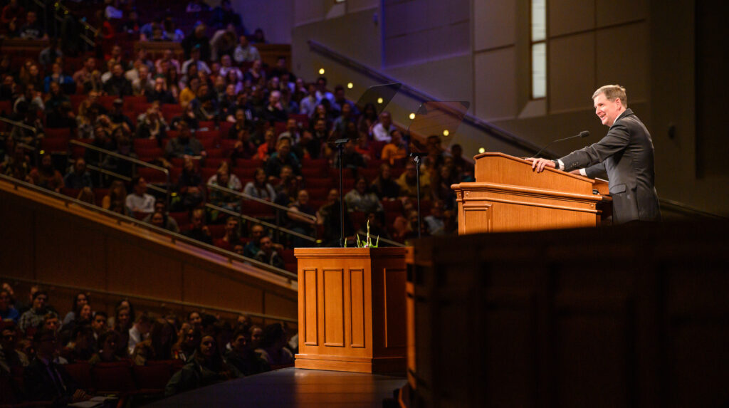 Elder James R. Rasband, a General Authority Seventy, speaks at a BYU–Idaho devotional on Jan. 28, 2020.