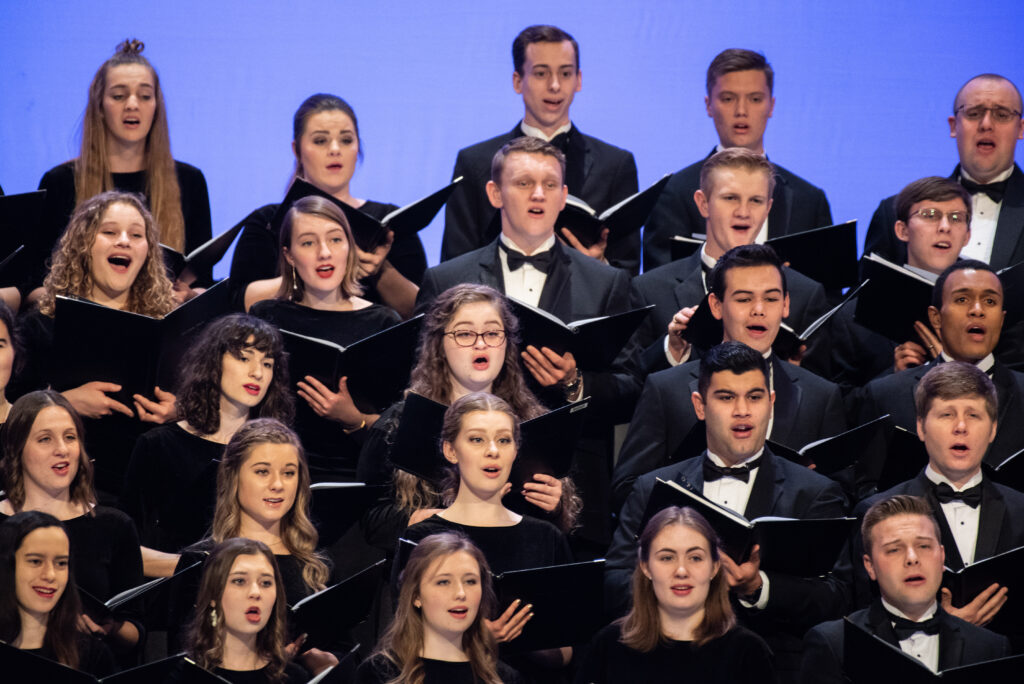 A choir of BYU–Idaho students sings at a campus devotional on Jan. 28, 2020.