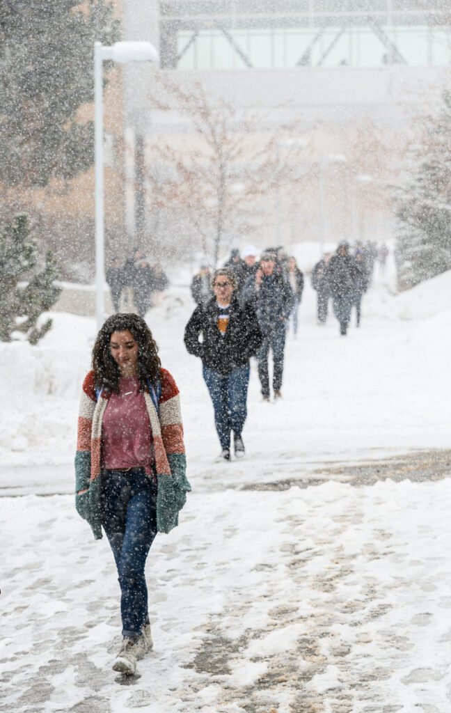 Students walk to a devotional at the BYU–Idaho Center in Rexburg, Idaho, on Jan. 28, 2020.