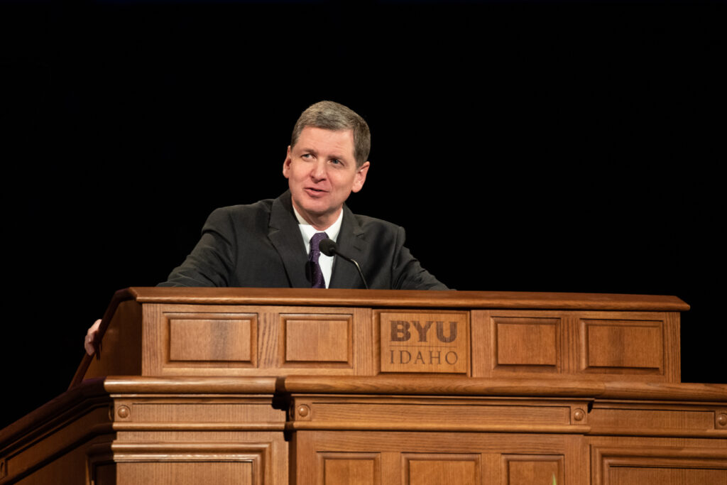 Elder James R. Rasband, a General Authority Seventy, speaks at a BYU–Idaho campus devotional on Jan. 28, 2020.