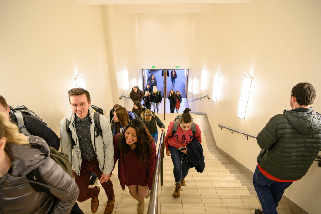 BYU–Idaho students leave a campus devotional on Jan. 28, 2020.