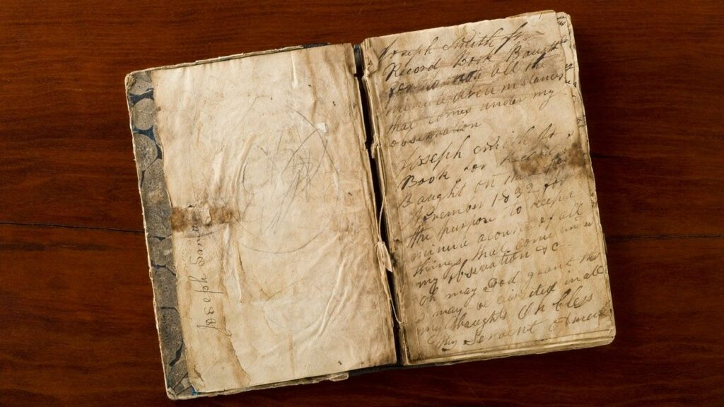 "A photo of Joseph Smith's 1835 journal where he recounted his First Vision to Robert Matthews, a visitor to Kirtland, Ohio. The journal and other artifacts related to accounts of the First Vision are on display at the Church History Library exhibit ""Foundations of Faith."""