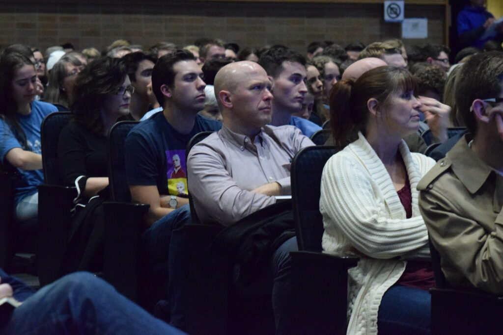 Attendees listen to Robert Alter, professor of the graduate school and emeritus professor of Hebrew and comparative literature at the University of California at Berkeley, as he speaks during a BYU Maxwell Institute guest lecture on Jan. 29, 2020, in Provo, Utah, about the challenge of translating the Hebrew Bible.