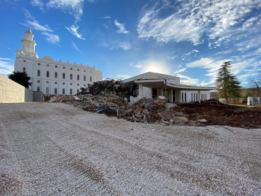 Sorted piles of debris from the ongoing renovation of the St. George Utah Temple wait to be loaded onto trucks and transported to recycling plants in St. George, Utah, on Jan. 20, 2020.