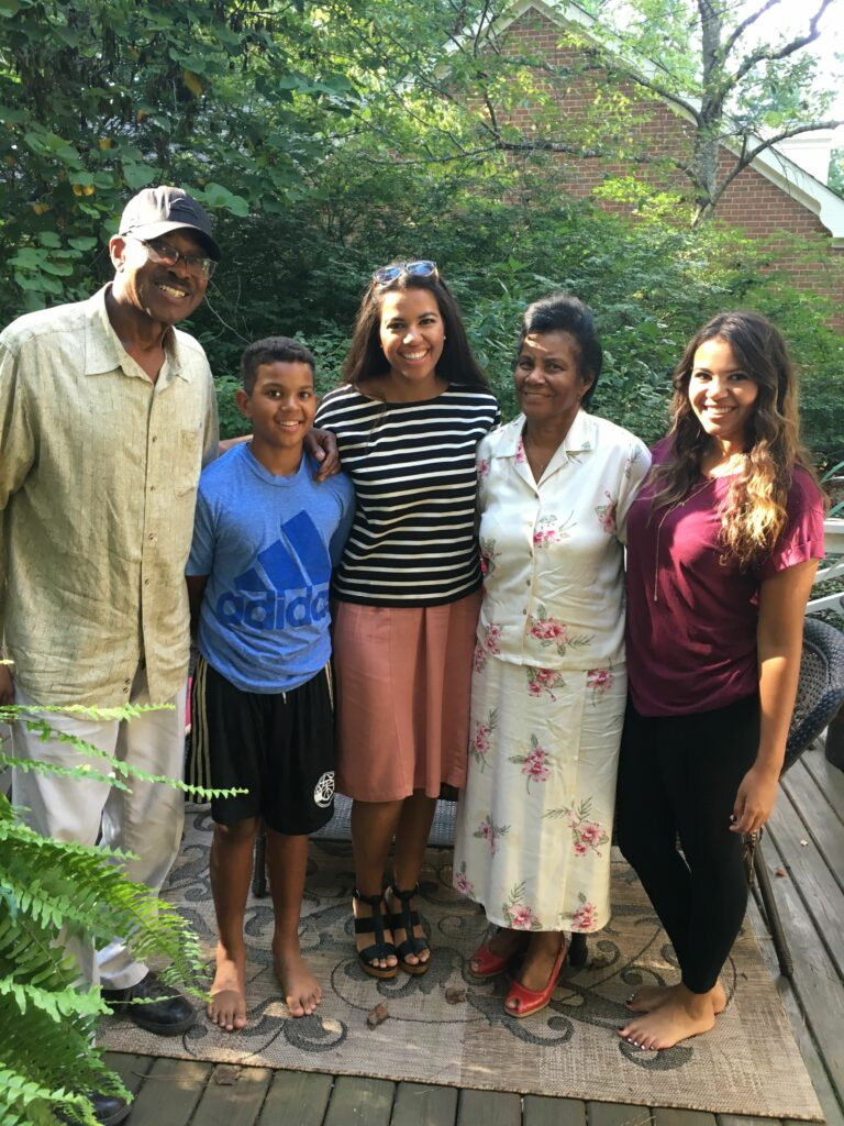 Kayla Jackson, middle, is pictured with her grandmother, Marie Jackson Peoples, middle right; her grandfather, Bob Peoples, left; and her siblings Mary Alice and Alvin.