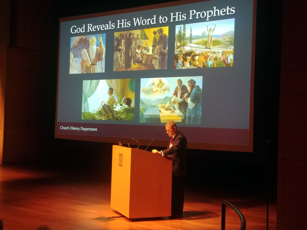 """Elder LeGrand R. Curtis Jr., a General Authority Seventy and executive director of the Church History Department, presents the keynote address at a conference called """"The First Vision of Joseph Smith, Jr.: 200 Years On"""" at the Huntington Library, Art Museum, and Botanical Gardens in San Marino, California, on Jan. 24, 2020."""