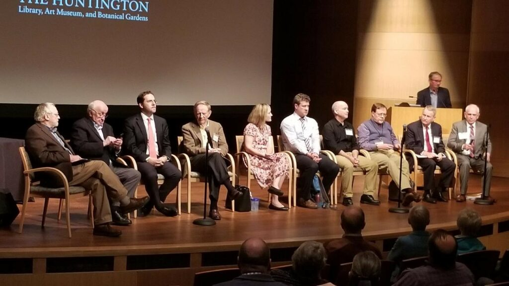 """Religious scholars participate in the closing panel discussion of a conference called """"The First Vision of Joseph Smith, Jr.: 200 Years On"""" at the Huntington Library, Art Museum, and Botanical Gardens in San Marino, California, on Jan. 25, 2020."""