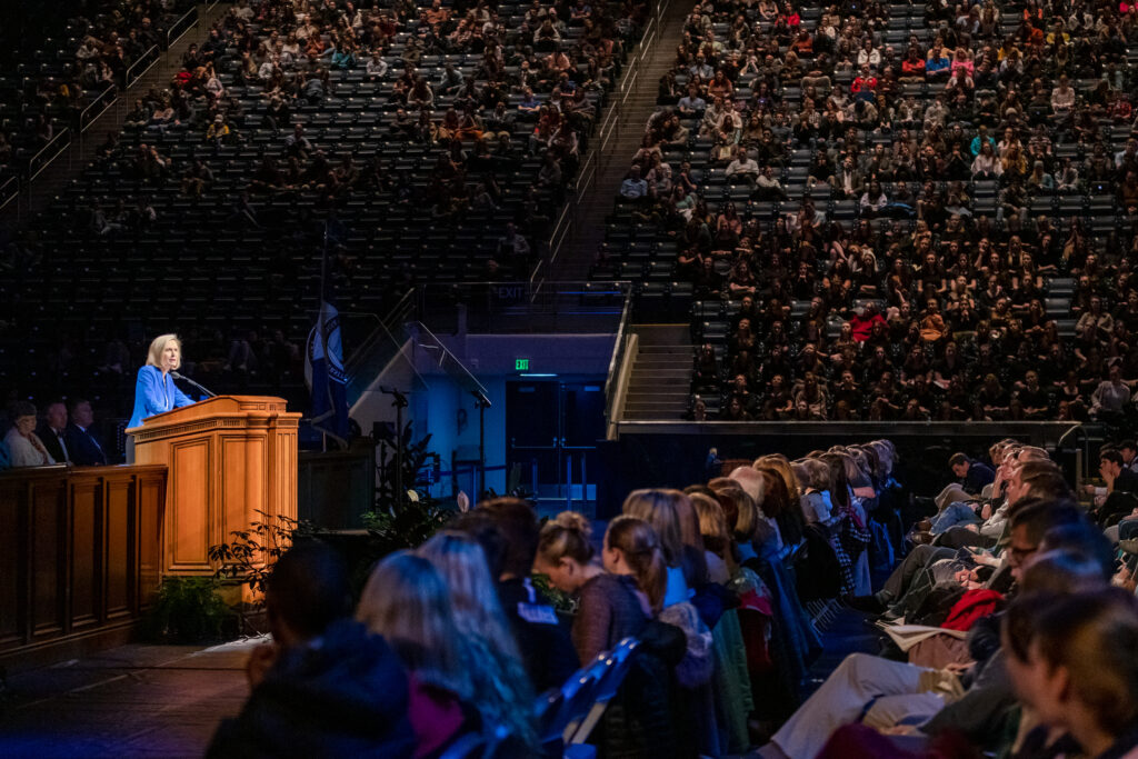 Devotional attendees listen to Young Women general president Sister Bonnie H. Cordon in the Marriott Center at Brigham Young University on Feb. 4, 2020.