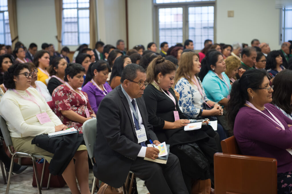 Latter-day Saints participate in a member devotional with Elder Jeffrey R. Holland in Arequipa, Peru on Jan. 28, 2020.