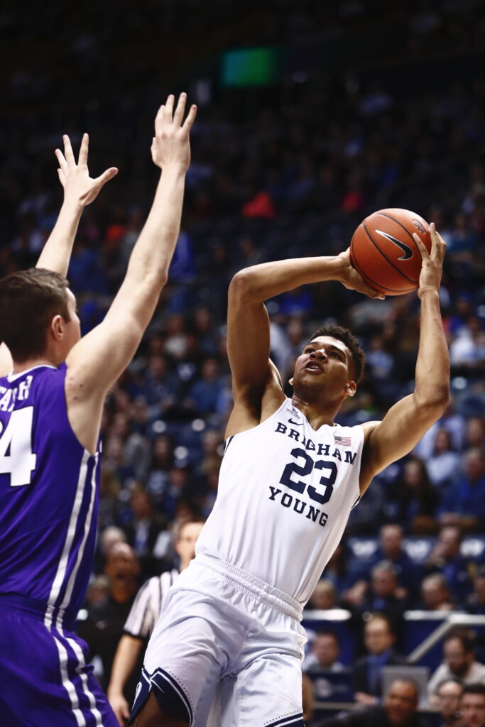 BYU's Yoeli Childs shoots over a defender in a February 2017 victory in the Marriott Center.