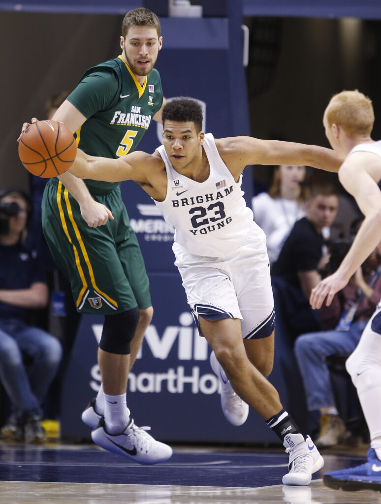 Brigham Young Cougars forward Yoeli Childs (23) grabs a rebound in Provo on Thursday, Jan. 12, 2017. BYU won 85-75.