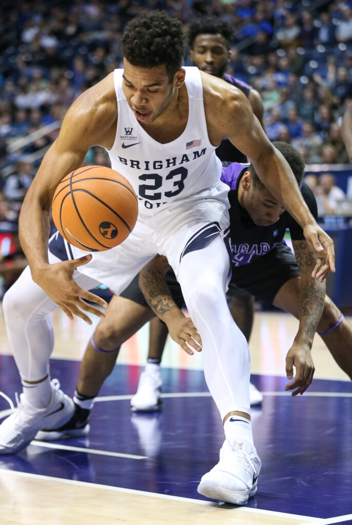 Brigham Young Cougars forward Yoeli Childs (23) bobbles the ball during the game against the Niagara Purple Eagles at the Marriott Center in Provo on Tuesday, Nov. 21, 2017.
