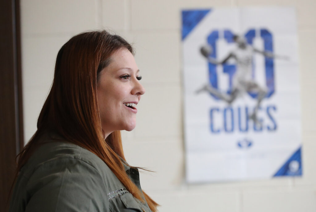 Corner Canyon High school teacher Kara Childs teaches in Draper on Tuesday, Feb. 26, 2019. Childs is the mother of BYU star basketball player Yoeli Childs.