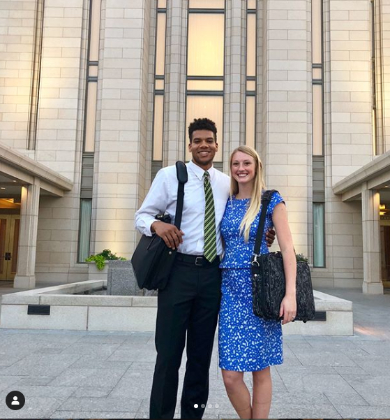 Yoeli Childs stands with his then-fiancee, Megan Boudreaux, outside the temple following receiving his endowment in 2018.