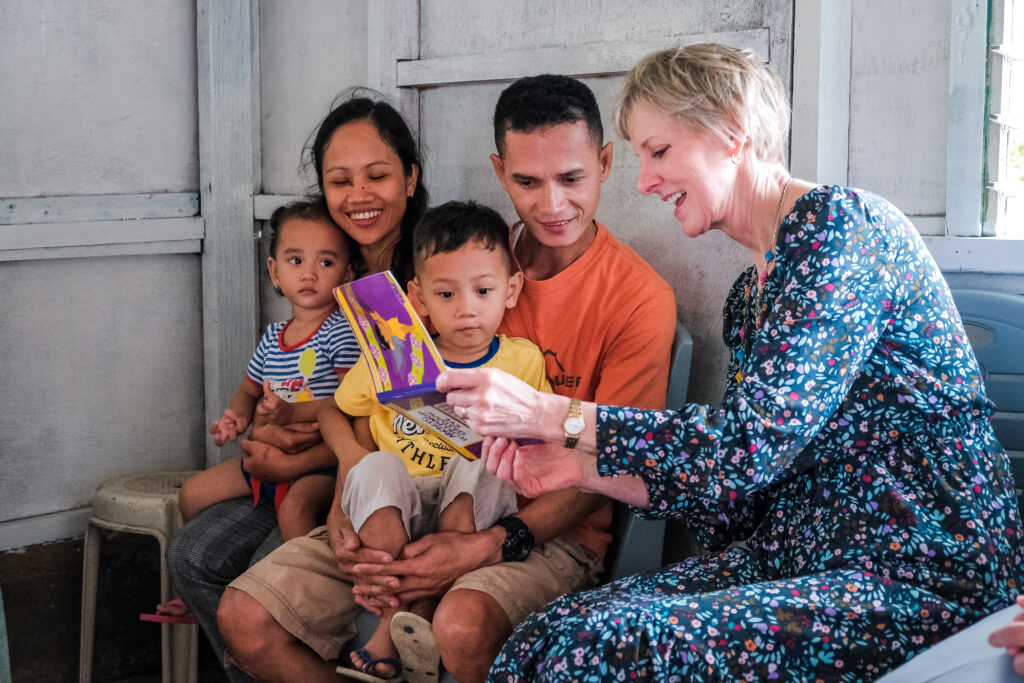 Sister Bingham visits with the Batiles family in their home in Catarman, Philippines, on Feb. 3, 2020, to learn about their experience participating in a new stake pilot program focused on malnutrition.