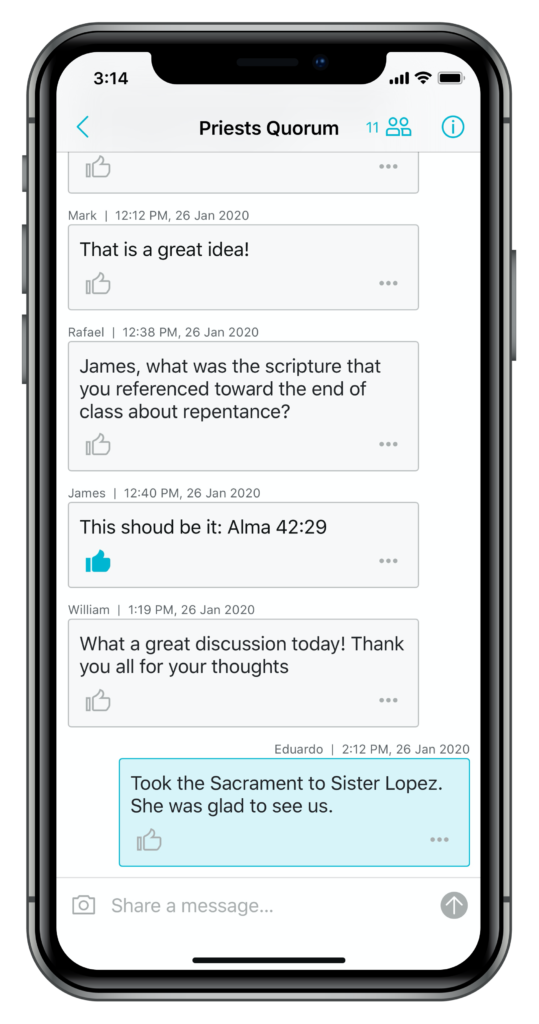 Screenshot of the Circles messaging feature in the new Gospel Living app.