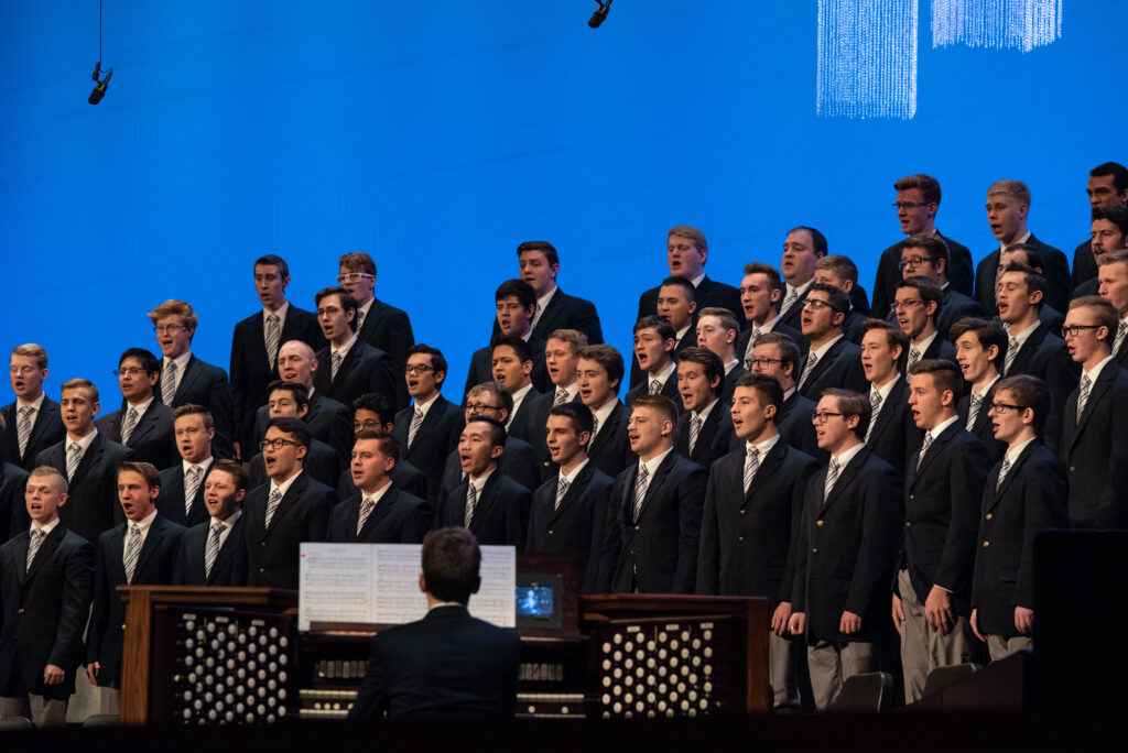 A student choir sings at a BYU–Idaho campus devotional on Tuesday, Feb. 11, 2020, in Rexburg, Idaho.