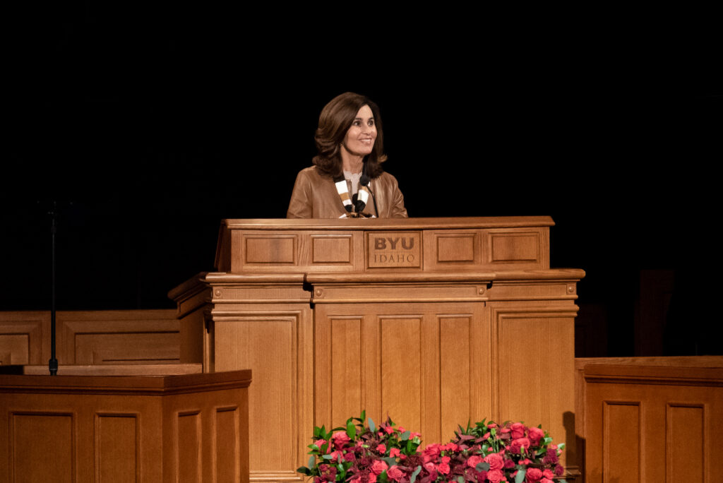 Sister Lisa L. Harkness, first counselor in the Primary general presidency, speaks at a BYU–Idaho campus devotional on Tuesday, Feb. 11, 2020, in Rexburg, Idaho.