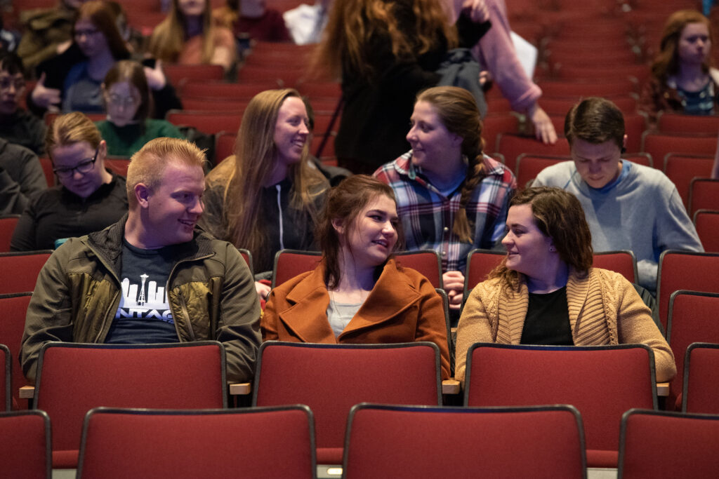 BYU–Idaho students chat before a campus devotional on Tuesday, Feb. 11, 2020, in Rexburg, Idaho.