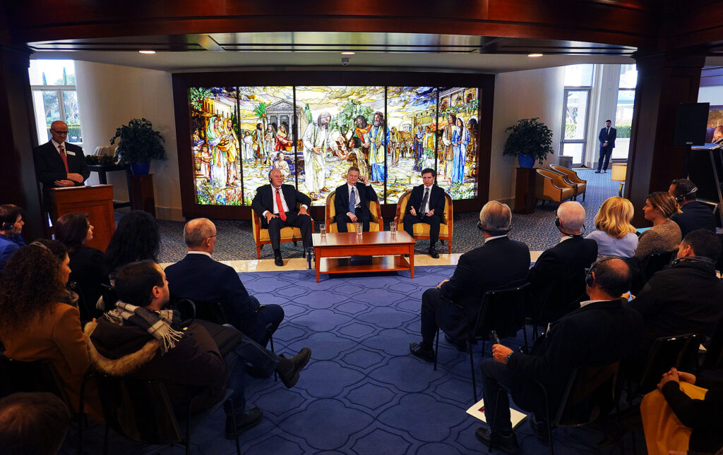 Elder Ronald A. Rasband, left, and Elder David A. Bednar of the Quorum of the Twelve Apostles, along with Elder Massimo De Feo, General Authority Seventy, participate in a press conference in the Rome Italy Temple Visitors' Center of The Church of Jesus Christ of Latter-day Saints on Monday, Jan. 14, 2019.