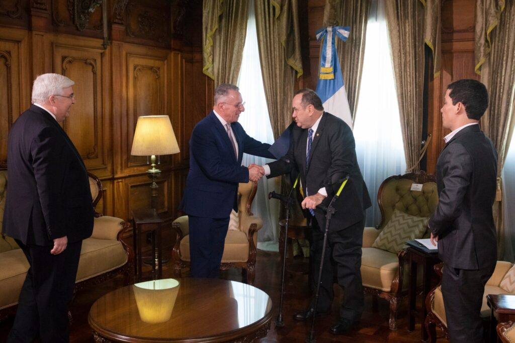 Elder Ulisses Soares of the Quorum of the Twelve Apostles meets with Guatemalan President Alejandro Giammattei in Guatemala City, Tuesday, Feb. 11, 2020.