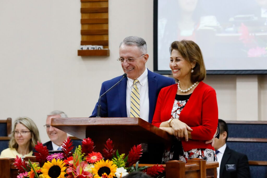 Elder Ulisses Soares of the Quorum of the Twelve Apostles and his wife, Rosana, address missionaries in Guatemala City on Saturday, Feb. 8, 2020.
