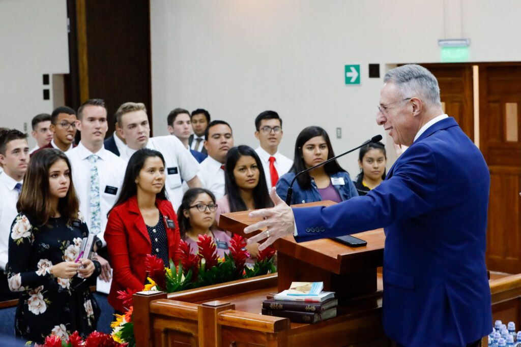 Elder Ulisses Soares of the Quorum of the Twelve Apostles addresses missionaries in Guatemala City on Saturday, Feb. 8, 2020. He's on a ministry of Central America.