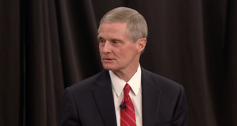 "Elder David A. Bednar speaks during the Church Educational System's annual ""Evening with a General Authority"" broadcast on Feb. 7, 2020."