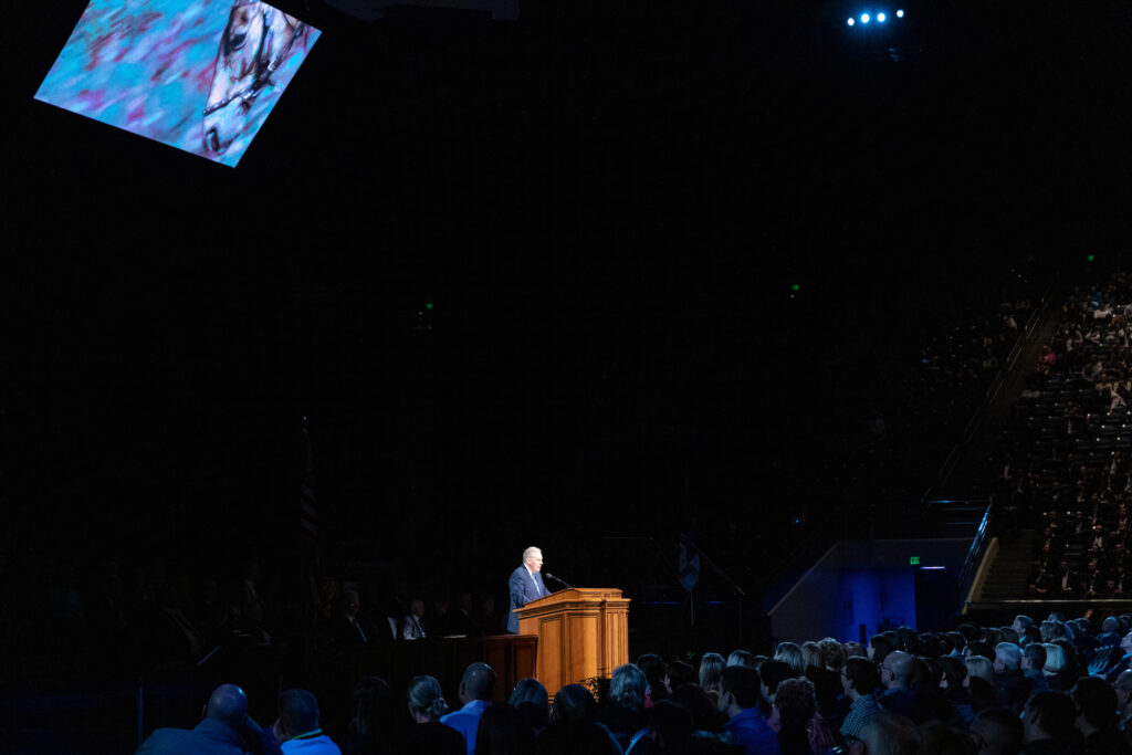 Elder Terence M. Vinson of the Presidency of the Seventy speaks during a Brigham Young University campus devotional in the Marriott Center in Provo, Utah, on Feb. 11, 2020.