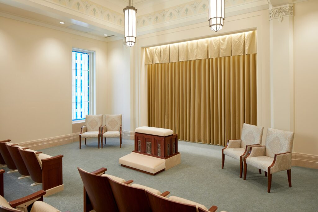 An instruction room in the Rio de Janeiro Brazil Temple.