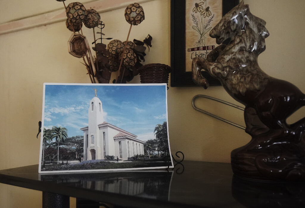 A temple photo is displayed in Nokuthula Gladys Gumede's home in Umlazi, South Africa, on Feb. 14, 2020.