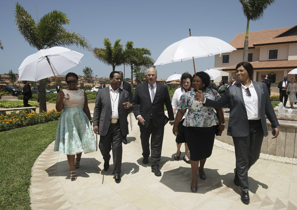 Elder Ronald A. Rasband, of The Church of Jesus Christ of Latter-day Saints' Quorum of the Twelve Apostles, and his wife, Sister Melanie Rasband, give a tour of the Durban South Africa Temple to His Majesty King Goodwill Zwelithini kaBhekuzulu, King of the Zulu nation, in Umhlanga, South Africa, on Saturday, Feb. 15, 2020.