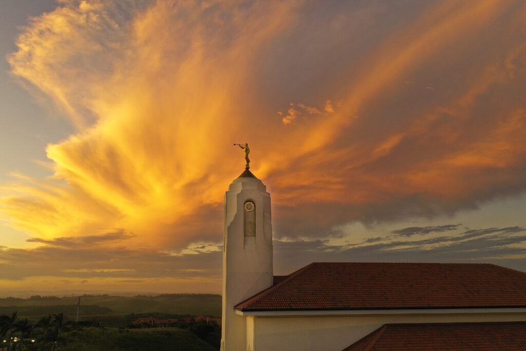 The sunsets on the Durban South Africa Temple in Umhlanga, South Africa, on Feb. 13, 2020.
